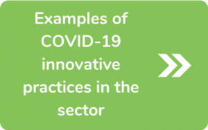 Button to go to Examples of COVID-19 innovative practices in the sector page