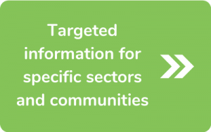 Button to go to Targeted information or specific sectors and communities page
